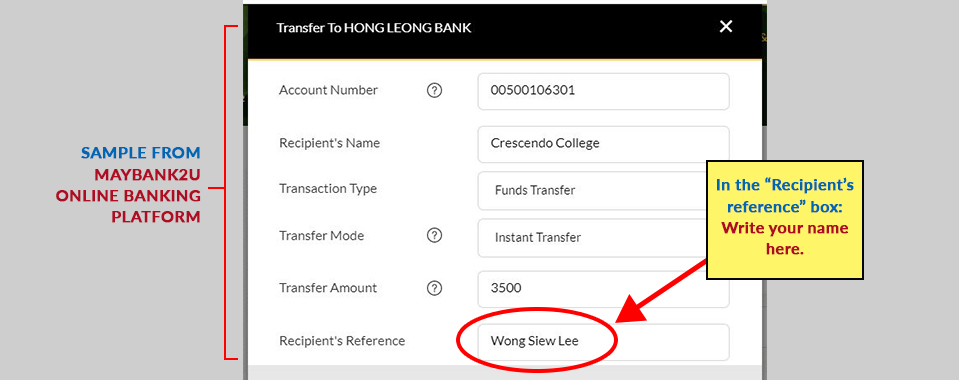 OCBC Online Banking Payment Sample